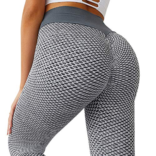 MOSHENGQI Women's Ruched Butt Lifting High Waist Yoga Pants Tummy Control Stretchy Workout Leggings Textured Booty Tights(Medium,#1 Grey)