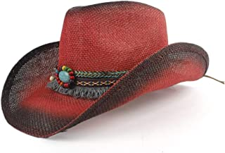 MAODOXIANG Straw Country Cowboy Hat Men Hand Made Beach Felt Sunhats Summer Party Cap for Man Woman Cowboy Hat Unisex Western Cowboy Hats (Color : Red, Size : 56-58)