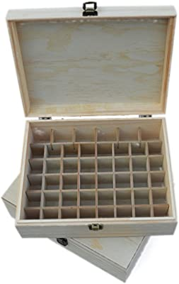Samber 46 Compartment Essential Oil Bottle Storage Cosmetic Travel Case Wooden Box