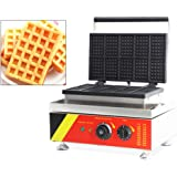 Hanchen Rectangle Waffle Maker Machine Square Belgian Waffle Maker 10Pcs Nonstick Temperature and Time Control Waffle Iron for Restaurant Bakeries Snack Bar Home Commercial Use (Cake Size: 3x2x0.5in)