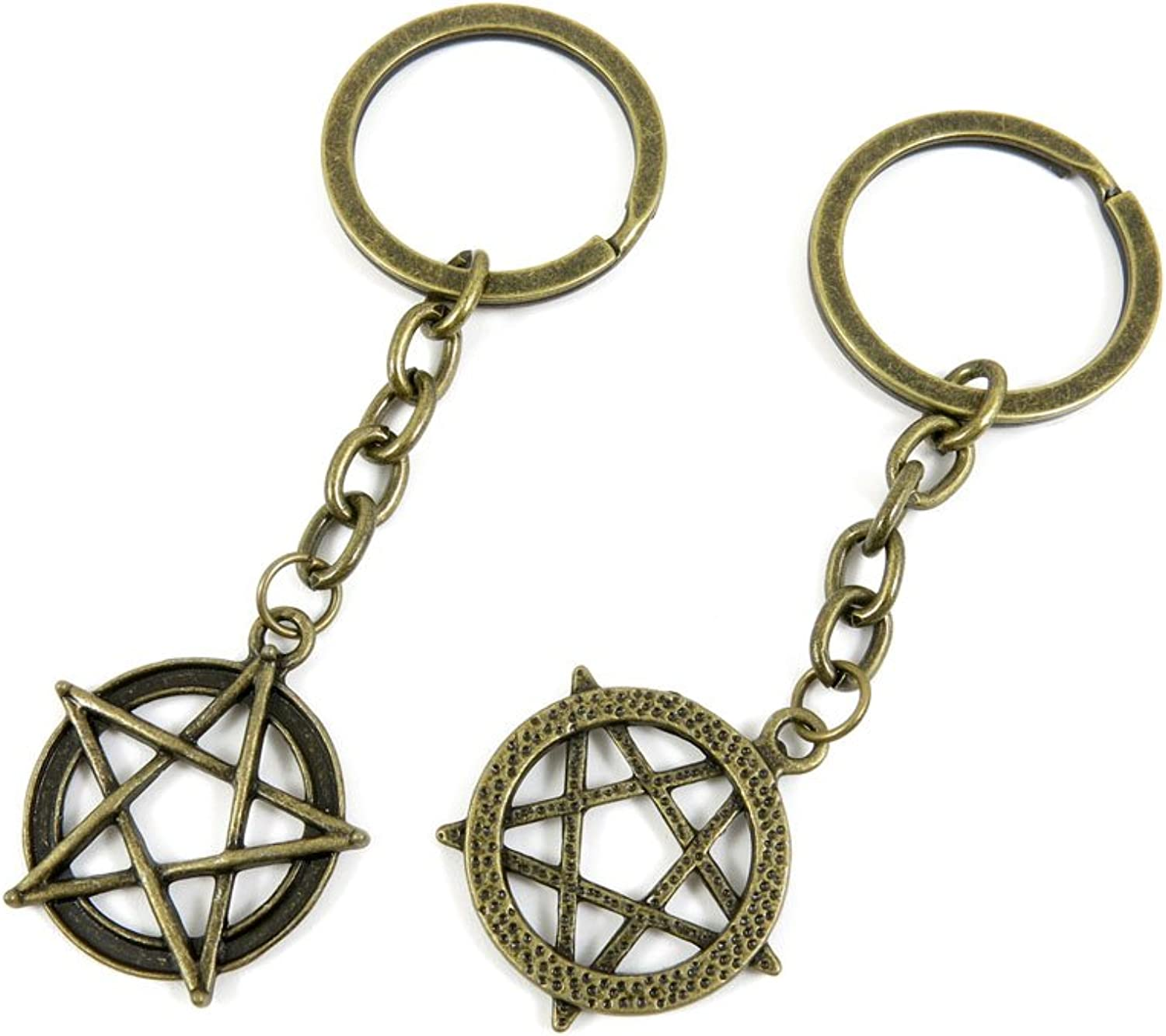 100 PCS Keyrings Keychains Key Ring Chains Tags Jewelry Findings Clasps Buckles Supplies N7OA0 Fivepointed Star