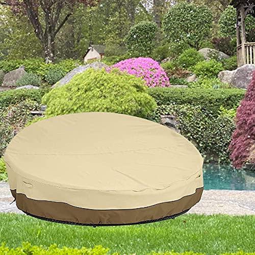 Funda para sofá de patio, redonda, resistente, de ratán, impermeable, a prueba de polvo, para muebles de jardín, para cama de día de ratán, 228 x 216 x 40/83 cm, color beige
