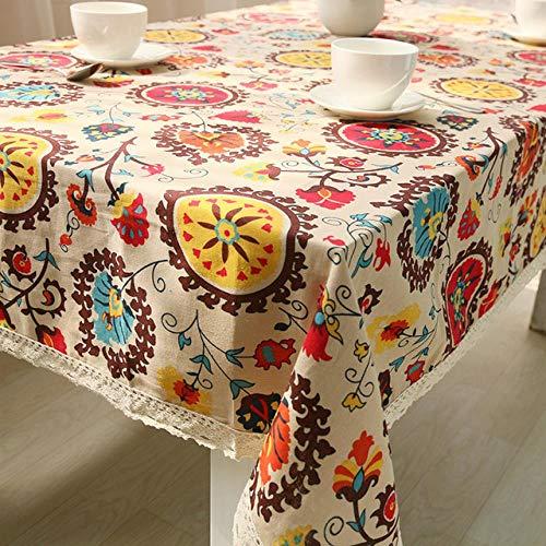 BGPOM Mantel de Encaje de Lino de algodon Girasol rectangulaire Hogar Cocina Cubierta de Mesa de Comedor Banquete de Boda como Muestra la Imagen 140 * 200 cm