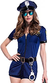 Women's Black Police Officer Uniform Costume With Handcuffs Belt Hat