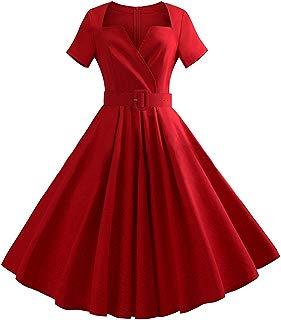 Ez-sofei Women's Vintage 1950s Short Sleeve Belt Cocktail Swing Dress Plus Size