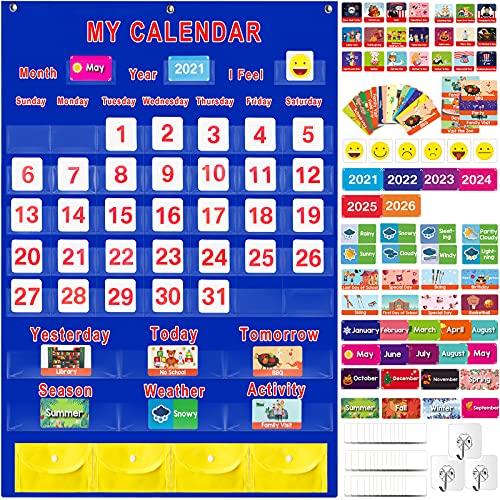 "Calendar and Weather Pocket Chart Set of 158, Large 35"" x 27.5"" Monthly Calendar Organizers for Kids Learning Resources/Toddler/Teacher/Preschool, Calendar Chart for Classroom Supplies, Home, School"