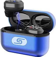 TWS Bluetooth 5.0 wireless earbuds headset SZSAGO W5s true wireless earphones for iPHONE/SAMSUNG IPX7 waterproof smart bluetooth headphones Headsets with patented intelligent Metal Charging case(blue)