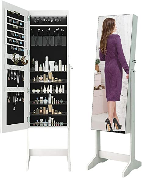 MSHIER LED Light Jewelry Cabinet Standing Mirror