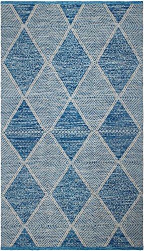 FAB HAB Hampton - Tapis Bleu en Polyéthylène recyclé (Fibres Polyester) pour intérieur/extérieur (60 cm x 90 cm)