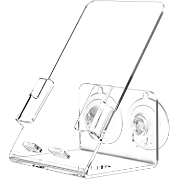 JZMYXA Bath&Shower Cell Phone Stand Holder-Handset Bracket-Suction Cup Bracket -Suction Cup Holder, Holder's Tray Mounted with Two Strong Suction Cups Suit for All Cell Phones