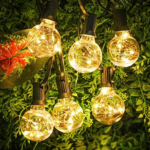 Lichterkette Außen, 10.7M Lichterkette Glühbirnen außen mit 30er Birnen G40, IP44 Wasserdicht Deko Licht für Garten, Zuhause, Party, Bar, Balkon, Hochzeiten, Feier (30 Glühbirne mit 1 Ersatzbirnen)