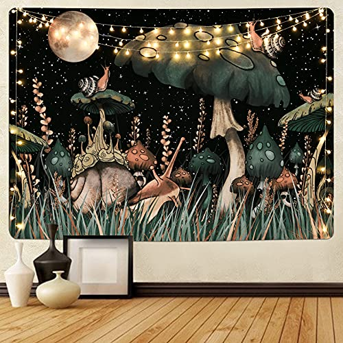 Trippy Mushroom Tapestry Moon and Stars Tapestry Snail Tapestry Fantasy Plants and Leaves Tapestry Wall Hanging for Room(51.2 x 59.1 inches)