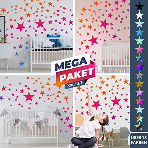 25 Sterne Wandtattoo fürs Kinderzimmer - Wandsticker Set - Pastell Farben, Baby Sternenhimmel zum Kleben Wandaufkleber Sticker Wanddeko - Wandfolie, Kleinkinder, Erstausstattung, Farbverlauf