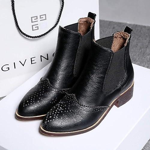 ZHRUI Stiefel para damen - Botines cálidos de tacón bajo de Invierno Botines de Gran tamaño Stiefel Martin 33-43 (Farbe   schwarz, tamaño   39)