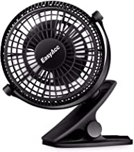 EasyAcc USB Clip on Mini Desk Fan for Baby Stroller Clip On Fan Desk Fan 2 in 1 Personal Fan Strong Wind 2 Speed 720°Rotation Portable Cooling Fan,USB POWERED ONLY,for Strollers Office Camping Outdoor