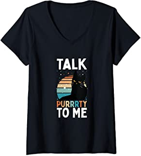 Femme Drôle Chat Chaton Amant Parler Purrrty À Moi T-Shirt avec Col en V
