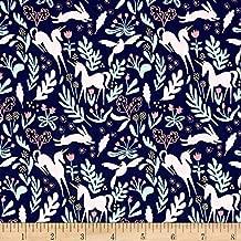 Michael Miller Sarah Jane Metallic Magic Folk Fabric by The Yard, Navy
