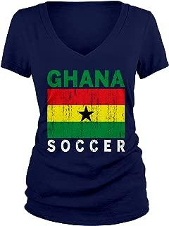 Junior's Ghana Soccer Ghanaian Football Futbol V-Neck T-Shirt