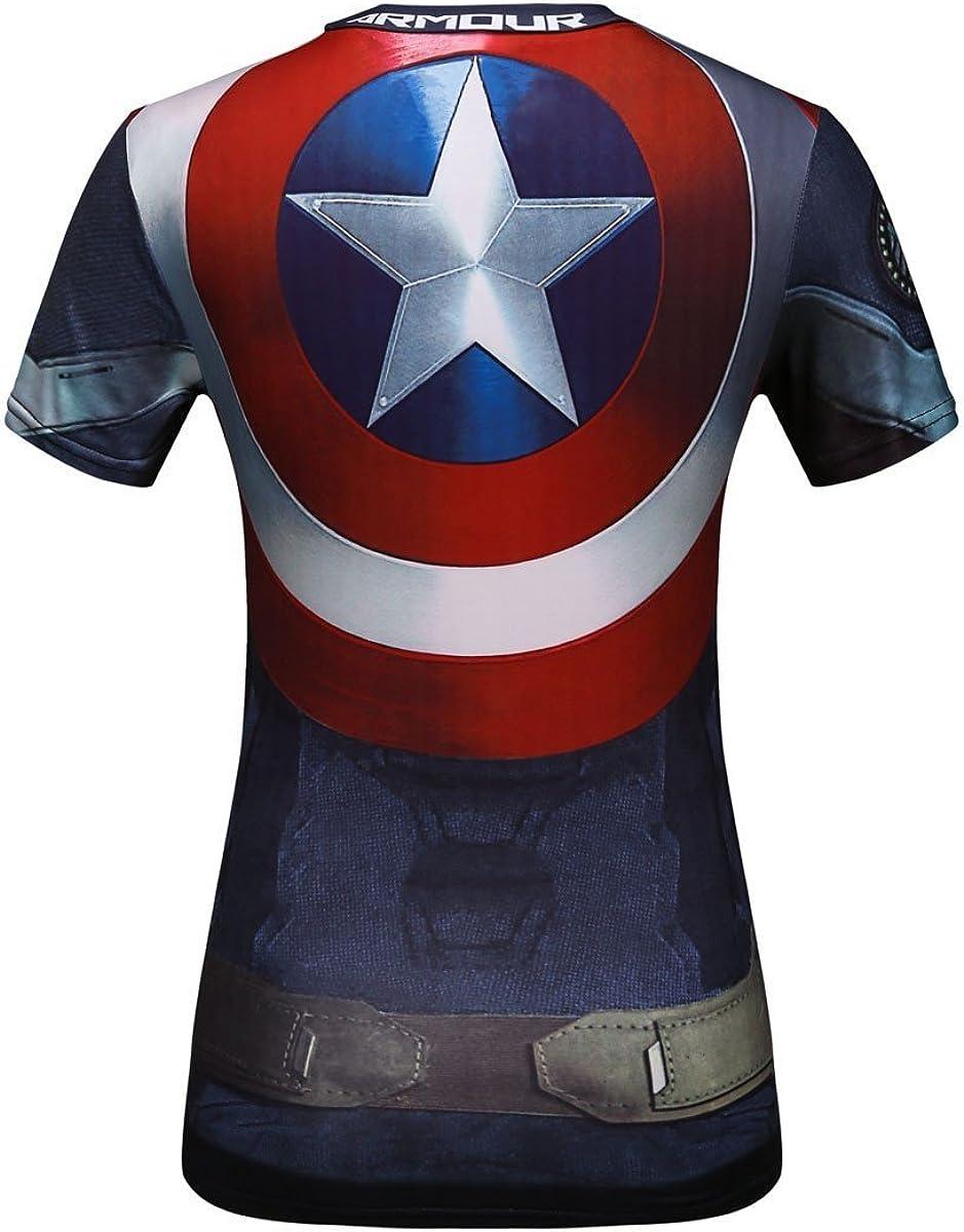 Fitness Cody Lundin Damen-T-Shirt Yoga Motiv Superhelden Captain America Sport Laufen Tanz