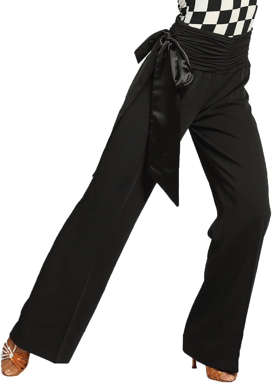 G4007 Modern Ballroom Dance Professional Satin Ribbon Elastic Straight Trousers Pants