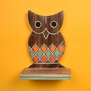 Aakriti Art Creations Wall Décor Hand-Painted Wooden Owl Shelf (Brown)