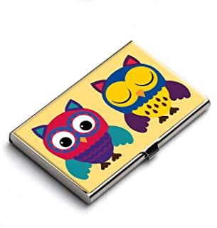 Heartzy Cute Cozy Owl Designer Business Card Holder (Multicolor) | Gift for Owl Lovers