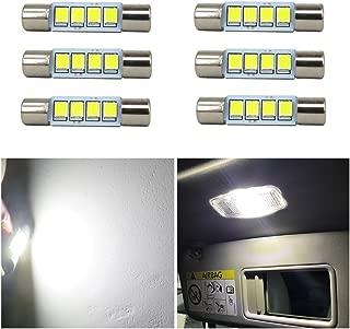 WLJH 6x Brighter White 6000k 12V 28mm 29mm Festoon 6614F Led Bulb Led Fuse Bulb 2835 Chipsets SMD 6614F 6612F for Car Interior Vanity Mirror Sun Visor Lights
