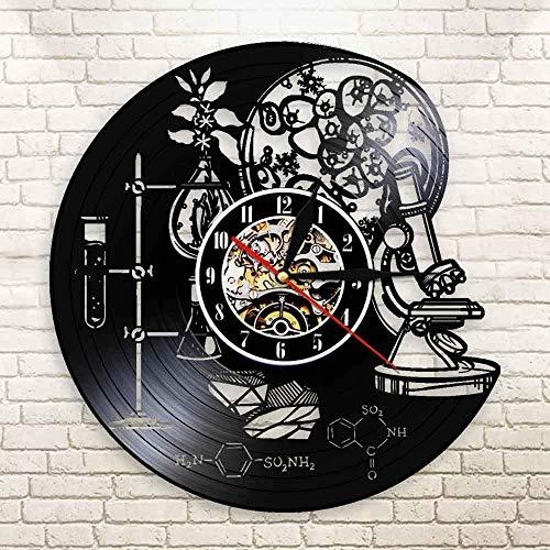 TJIAXU Laboratorio decoración de Pared química Ciencia Herramientas Discos de Vinilo biología Ciencia dopamina Reloj Molecular científico Regalo