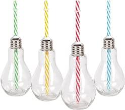 Alsino Trinkglas Glühbirne 78/7832 Partygeschirr mit Metallgewinde und gestreiftem Trinkhalm 175 ml farbig Gartenparty Partygläser 14 cm