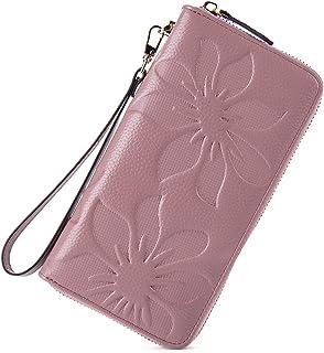 BOSTANTEN Women's RFID Blocking Leather Wallets Credit Card Cash Holder Clutch Wristlet Taro Pink