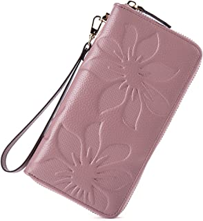 BOSTANTEN Women's RFID Blocking Leather Wallets Credit Card Cash Holder Clutch Wristlet Taro Pink