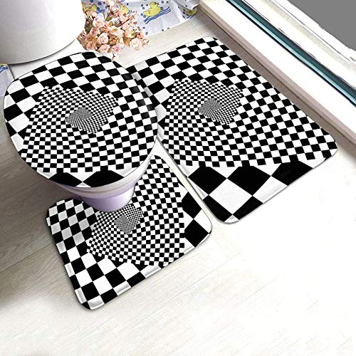 Kglkb 3 Piece Bathroom Rug Non-Slip Pads Geometric Checkered Effect Chess Board Bath Mat + Contour + Toilet Lid Cover