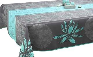 Le linge de Jules Nappe Anti-Taches Lotus Bleu - Taille : Rectangle 150x240 cm