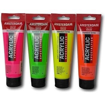 Pack de cuatro pinturas acrílicas de Ámsterdam Reflex Fluorescente ...