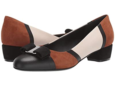 Salvatore Ferragamo Vara PW (Dark Vicuna/Bone/Nero) Women