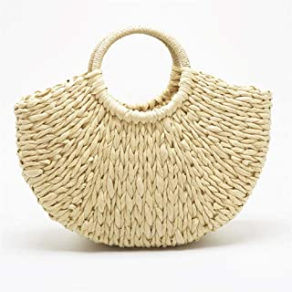 Handbags Hand-Woven Durable Round Handle Ring Toto Retro Large Casual Summer Beach Handbags