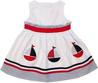Good Lad Toddler Thru 4/6 White Poplin Sleeveless Nautical Dress with Sailboat Appliques