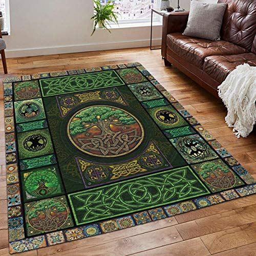 Personalized Celtic Tree of Life Decor New Rooms Rug Birthday Gifts Kids Chair Flannel Floor Pads Carpet for Living Room Bedroom Dorm Office 2x3 3x5 4x6 5x8 Area Rug
