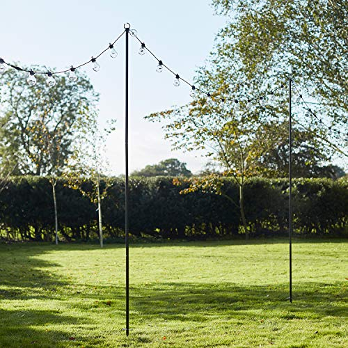 Lights4fun Black Metal Festoon Pole 2.75m Shepherds Hook for Garden String Lights
