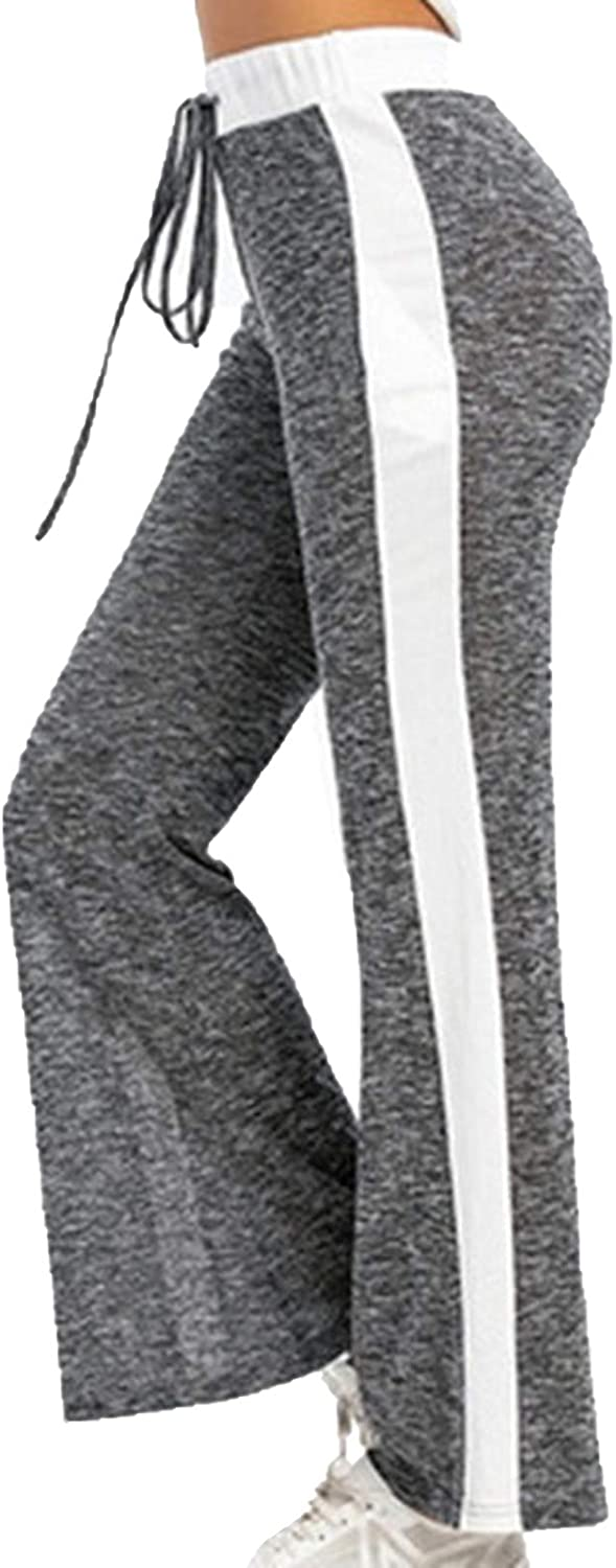 Women's Comfy Pants Casual Stretch Pant Striped Drawstring Palazzo Lounge Pants Wide Leg for All Seasons