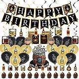 Decoración para fiesta de cumpleaños de whisky, cerveza y whisky, accesorios para fiestas de cumpleaños, incluyendo pancartas, espirales de whisky, globos de látex y tarjetas de invitación.