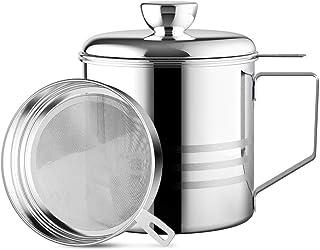 Chihee Bidon de Graisse en Acier Inoxydable de 1,2 L avec Filtre à Mailles Fines pour Le Stockage de l'huile de friture et...