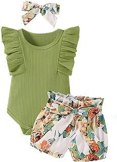 Newborn Infant Baby Girl Clothes Romper + Floral Short...