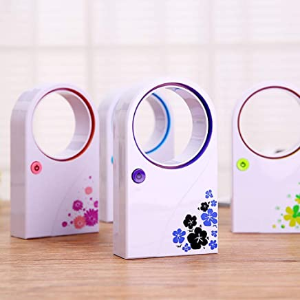 MICMAC Summer Portable Handheld Mini Air Conditioner Electric Bladeless Fan No Leaf Air Cooling Fan USB or Battery Condition, table fans for home (Color May Vary 1 psc)