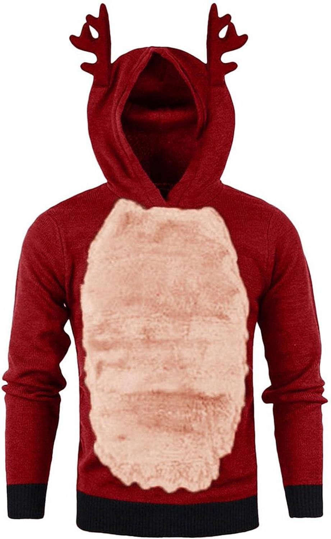 XUNFUN Ugly Christmas Sweater Men Funny Xmas 3D Reindeer Hoodie Sweatshirts Fleece Lined Autumn Winter Pullover Tops