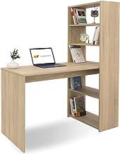 COMIFORT Escritorio con Estantería - Mesa de Estudio con Librería de Estructura Firme, Moderna y Minimalista con 4 Baldas Espaciosas y de Gran Capacidad, Color Sonoma
