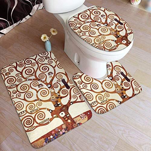 ingshihuainingxianruangangs Baum des Lebens von Gustav Klimt Badezimmer Anti-Rutsch-Pad-Set 3-teilige weiche, rutschfeste Pads Badematte + Konturmatte Sockelteppich + Toilettendeckelabdeckung