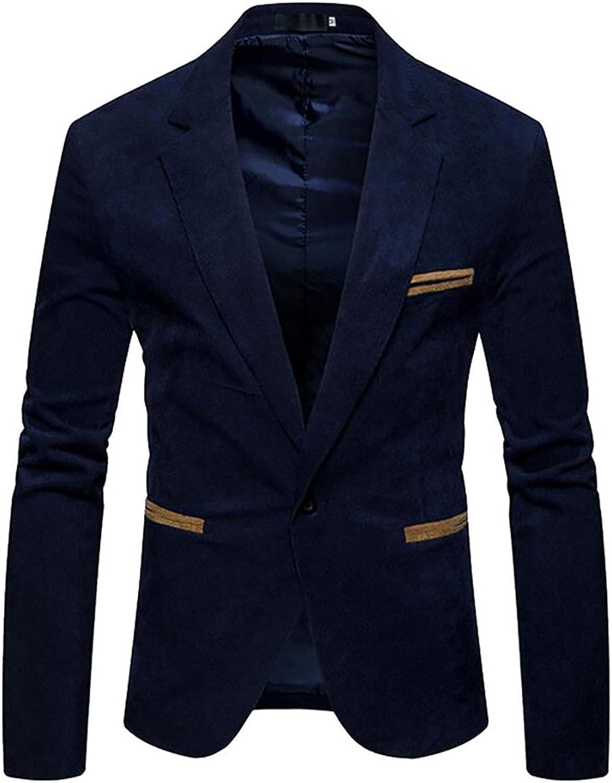 GenericMen Generic Men's Fashion Slim Fit Corduroy One Button Button Button Long Sleeve Blazer Jackets ecfcff