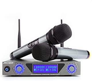 ARCHEER UHF Wireless Microphone System with LCD Display Dual Channel Handheld Karaoke Microphones Set for Outdoor Wedding, Conference, Karaoke, Evening Party, Singing