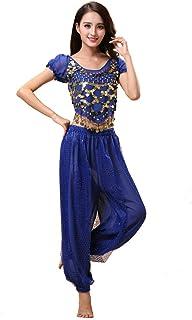 Conjunto de Traje de Traje de 2 Piezas de Danza del Vientre de Bollywood, Tema de Princesa India, para Mujeres con Top y Pantalones (150-170cm, 30-60kg)